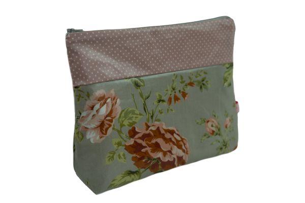Handgemachte Kulturtasche Wickeltasche Sophia Grey