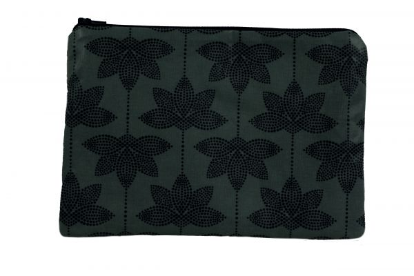 Handgemachte Kosmetiktasche Kulturtasche Lotus Almost Black aus beschichteter Baumwolle