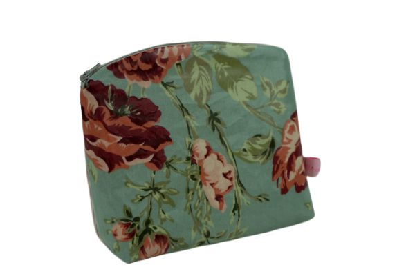 Kulturtasche Kosmetiktasche Sophia Aqua Sky aus beschichteter Baumwolle