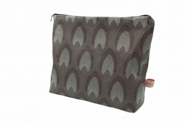 Handgemachte Kulturtasche Wickeltasche Chrysler Misty Rose aus beschichteter Baumwolle