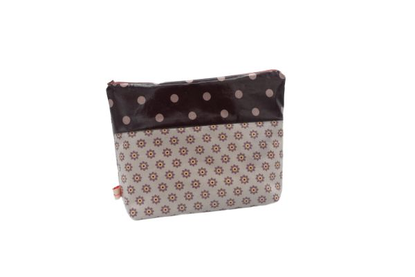 Kulturtasche Wickeltasche Twiggy Dusty Violet aus beschichteter Baumwolle