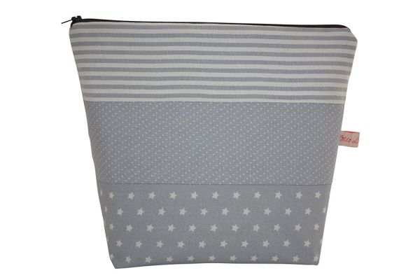 "Kulturtasche Wickeltasche ""Sophisticated Grey in Stars, Stripes and Dots"""