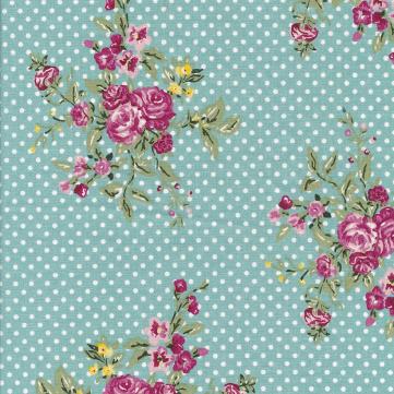 Au Maison beschichtete Baumwolle Oilcloth Flora Aqua Sky