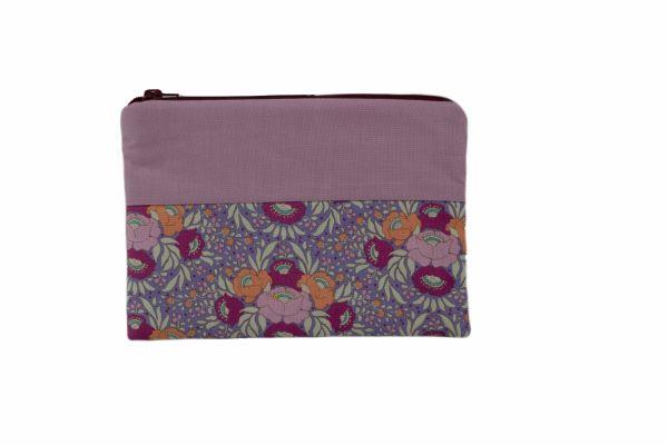 Handgemachte Kulturtasche Kosmetiktasche Autumn Bouquet Lavender