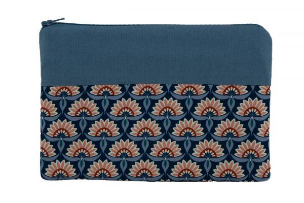 Handgemachte Kosmetiktasche Clutch Emilie Ornaments Blue