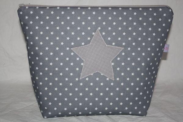 Kulturtasche Wickeltasche Stars Dark Grey