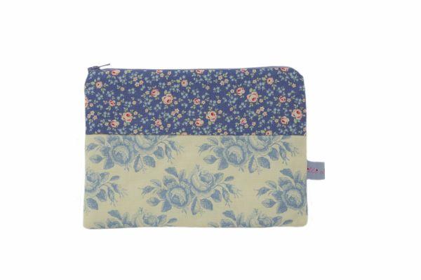 Handgemachte Kulturtasche Kosmetiktasche Old Rose Blue