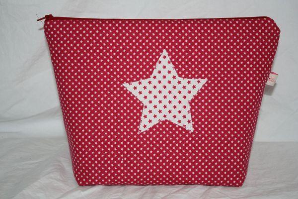 Kulturtasche Wickeltasche Stars Red