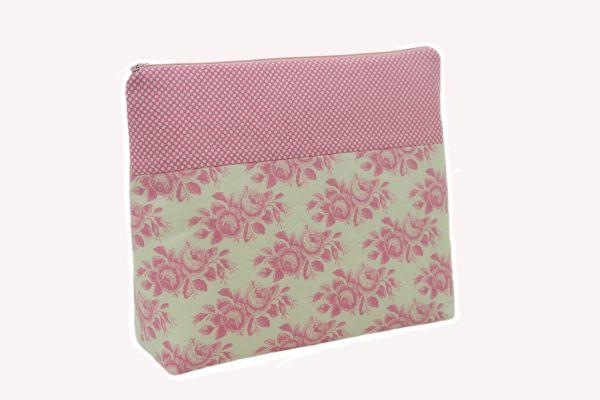 Handgemachte Kulturtasche Wickeltasche Old Rose Pink