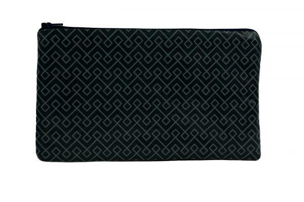 Handgemachte Kosmetiktasche Kulturtasche Trigo Almost Black aus beschichteter Baumwolle