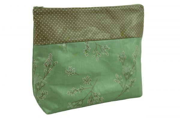 Handgemachte Kulturtasche Wickeltasche Alberte Verte Dots aus beschichteter Baumwolle