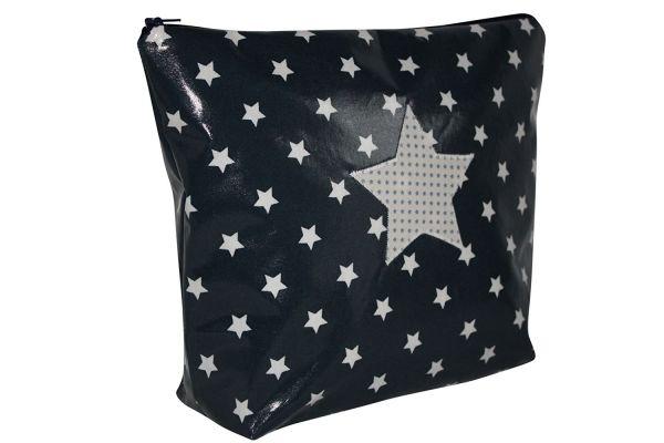 Wickeltasche Kulturtasche Stars Blue aus beschichteter Baumwolle