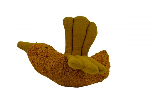 Handgemachter Rasselvogel Greifling in curry