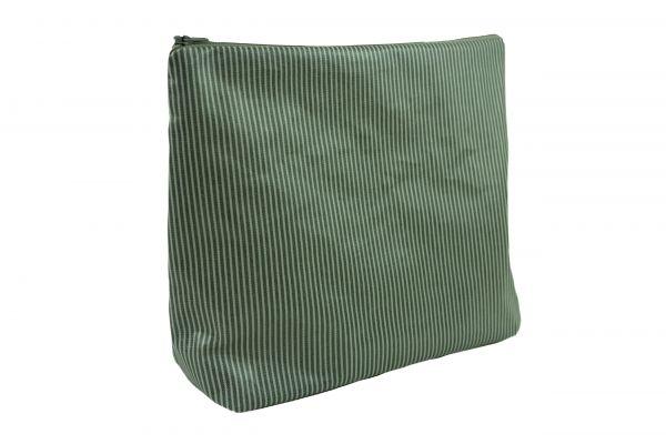 Handgemachte Kulturtasche Wickeltasche Stripes Grey aus beschichteter Baumwolle