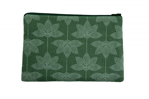 Handgemachte Kosmetiktasche Clutch Lotus Petrol Green
